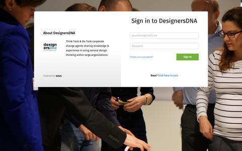 Screenshot of Login Page ning.com - Sign In - DesignersDNA - captured Aug. 6, 2018