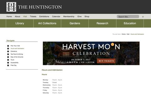Screenshot of Hours Page huntington.org - Hours and Admission - captured Sept. 19, 2017