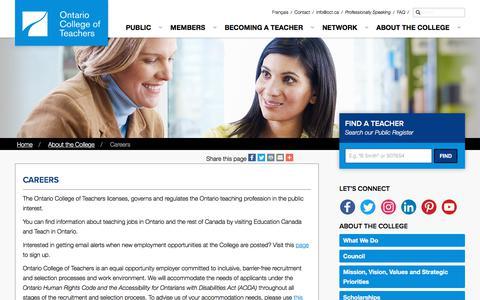 Screenshot of Jobs Page oct.ca - Careers | Ontario College of Teachers - captured Sept. 22, 2018