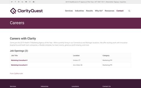 Screenshot of Jobs Page clarityqst.com - Contact Our Coast-to-Coast Marketing Offices | Clarity Quest - captured Oct. 13, 2019