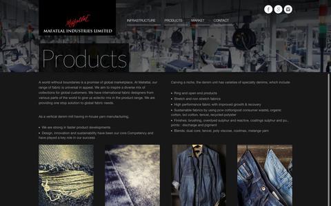 Screenshot of Products Page mafatlaldenim.com - Mafatlal Denim providing one stop solution to global fabric needs - captured Oct. 2, 2018
