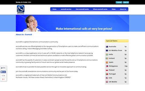 Screenshot of About Page ecomo.me - ecomo - captured Oct. 6, 2014