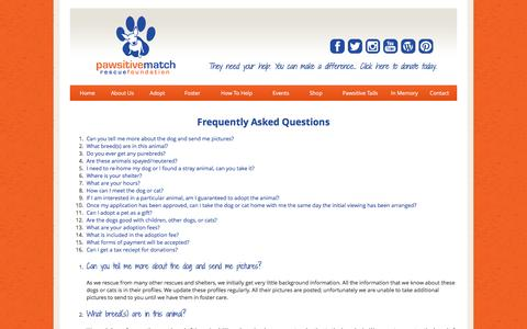 Screenshot of FAQ Page pawsitivematch.org - Pawsitive Match Rescue Foundation - Calgary Based Dog Rescue - captured Jan. 26, 2016