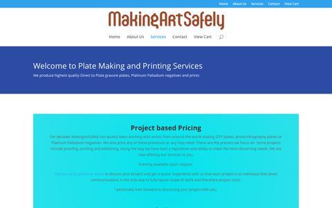 Screenshot of Services Page makingartsafely.com - Services | Making Art Safely - captured Feb. 21, 2018