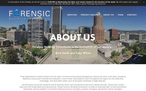 Screenshot of About Page forensicbuilding.com - About Us — Forensic Building Consultants - captured Nov. 25, 2016