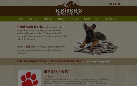 Screenshot of Blog krisers.com - News, Pet Tips & Education | Kriser's - captured Jan. 26, 2016