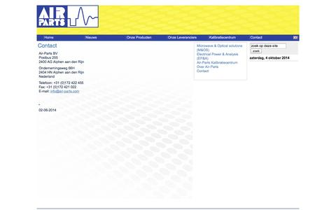 Screenshot of Contact Page air-parts.com - Air-Parts | Our Company - Your Solution - captured Oct. 4, 2014