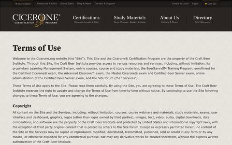Screenshot of Terms Page cicerone.org - Terms of Use   Cicerone Certification Program - captured Nov. 6, 2016