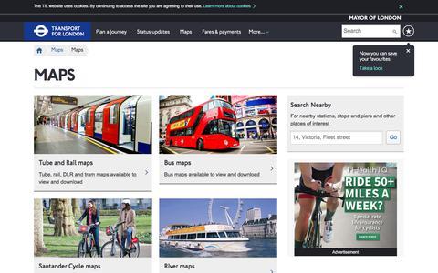 Screenshot of Maps & Directions Page tfl.gov.uk - Maps - Transport for London - captured June 20, 2017
