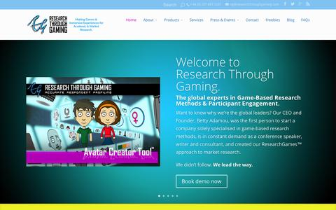 Screenshot of Home Page researchthroughgaming.com captured Aug. 15, 2015