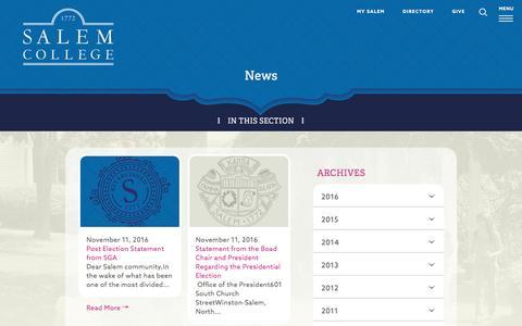 Screenshot of Press Page salem.edu - News at Salem College in Winston-Salem NC | Press Releases - captured Nov. 18, 2016