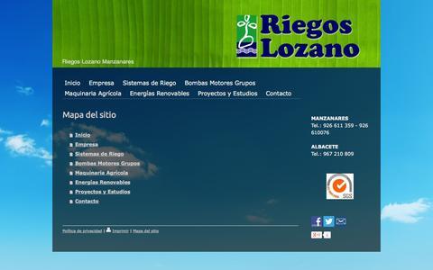 Screenshot of Site Map Page riegoslozano.com - Mapa del sitio - Riegos lozano de Manzanares - captured Oct. 26, 2014