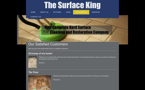 Screenshot of Testimonials Page thesurfaceking.org - Surface King - Hard Surface Cleaning, Tile and Grout Cleaning, Hardwood Cleaning, Concrete Cleaning - captured Sept. 30, 2014
