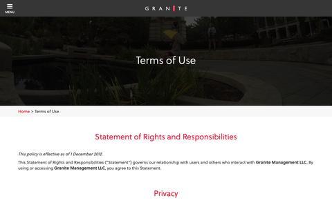 Screenshot of Terms Page granitestudentliving.com - Terms of Use | Granite Student Living | Student Apartments - captured Sept. 30, 2018