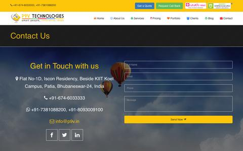 Screenshot of Contact Page p9v.in - Website Design in Bhubaneswar | Top Web Design Company In Odisha | Web design Service Provider |  Web Hosting Service | Domain Name Booking - captured Jan. 22, 2016