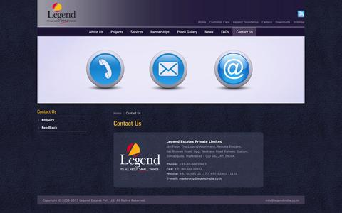 Screenshot of Contact Page legendindia.co.in - Legend | The City of Legend | The Official Website - captured Oct. 2, 2014