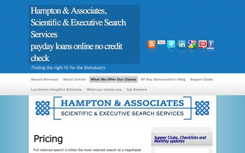 Screenshot of Pricing Page hamptonexecutivesearch.com - PricingHampton & Associates, Scientific & Executive Search Services - captured Oct. 1, 2014