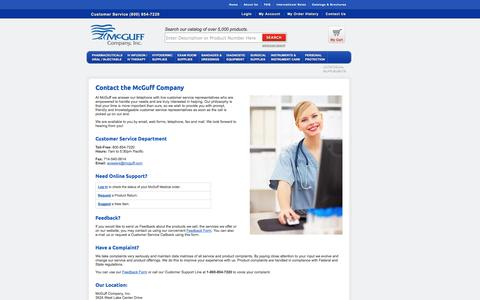 Screenshot of Contact Page mcguffmedical.com - McGuff Company - Contact Us - captured Oct. 27, 2014