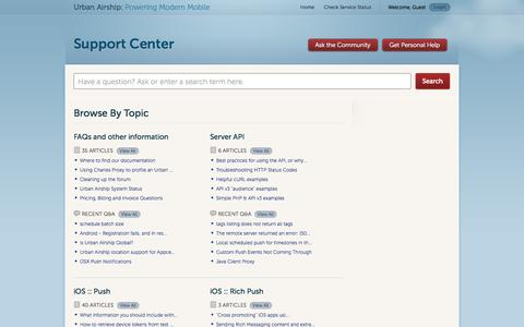 Screenshot of Support Page urbanairship.com - Urban Airship |         Portal - captured Sept. 17, 2014