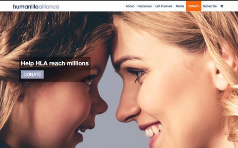 Screenshot of Home Page humanlife.org - Human Life Alliance - captured Sept. 30, 2018
