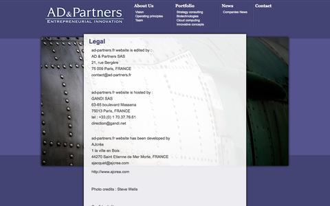 Screenshot of Terms Page ad-partners.fr - Legal - AD & Partners - captured Oct. 4, 2014