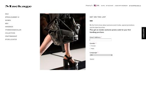 Mackage -  Newsletter Signup - EN