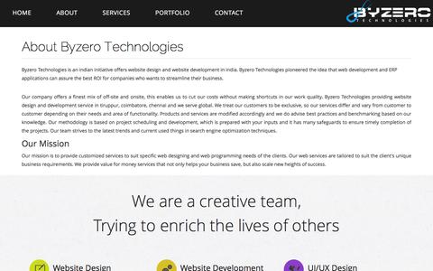 Screenshot of About Page byzerotechnologies.com - Website Designing Company in Tirupur, Website Designing and Development Company in Tirupur, Tamilnadu - Byzero Technologies - captured Jan. 7, 2016