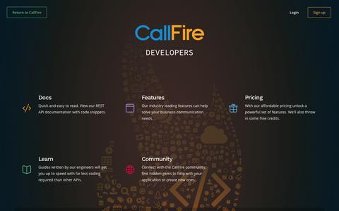 Screenshot of Developers Page callfire.com - Welcome | CallFire Developers - captured Nov. 14, 2015