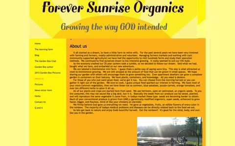 Screenshot of About Page foreversunriseorganics.com - Forever Sunrise Organics - About Us - captured Oct. 6, 2014