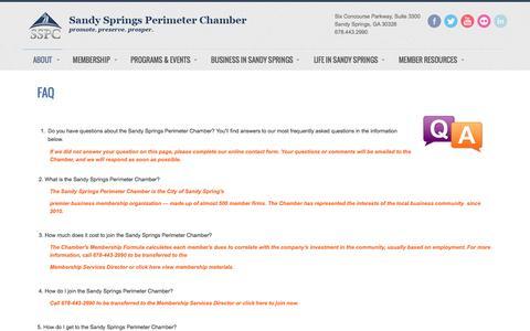 Screenshot of FAQ Page sandyspringsperimeterchamber.com - FAQ - Sandy Springs/Perimeter Chamber of Commerce - captured Nov. 18, 2016