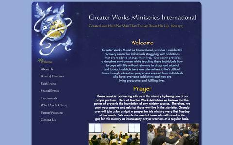 Screenshot of Home Page greaterworksminintl.org - Greater Works Ministries International - Welcome - captured Oct. 3, 2014