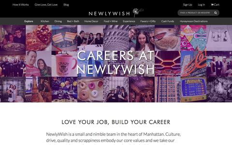 Screenshot of Jobs Page newlywish.com - Careers at NewlyWish - NewlyWish - captured Jan. 12, 2016