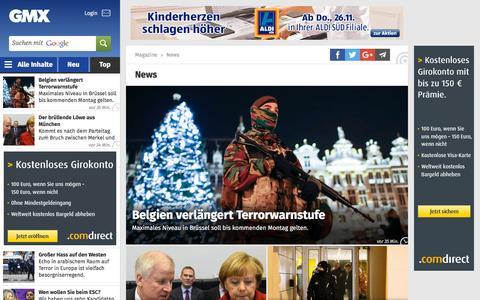 Screenshot of Press Page gmx.net - Aktuelle Nachrichten aus Politik, Wirtschaft & Panorama - captured Nov. 23, 2015