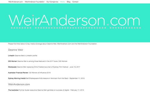 Screenshot of Press Page weiranderson.com - Media — WeirAnderson.com - captured Feb. 27, 2018