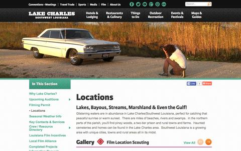 Screenshot of Locations Page visitlakecharles.org - Locations - captured Jan. 24, 2016
