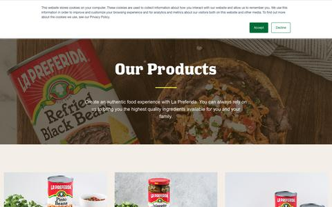 Screenshot of Products Page lapreferida.com - Products – La Preferida - captured July 13, 2018