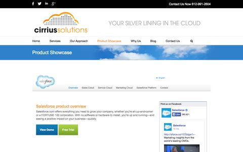 Screenshot of Trial Page cirriussolutions.com - Salesforce products: Sales Cloud, Service Cloud and Marketing Cloud - captured Oct. 2, 2014