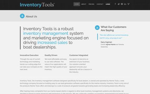Screenshot of About Page inventory-tools.com - Inventory Tools - About our Company and Services - captured Oct. 1, 2018