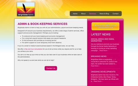 Screenshot of Services Page brightsideadmin.co.uk - Admin Services & Office Support in Bridgend | BrightSide Admin - captured Sept. 30, 2014