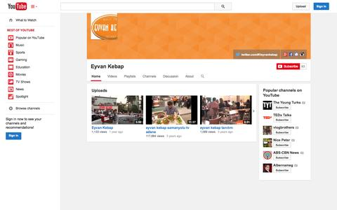 Screenshot of YouTube Page youtube.com - Eyvan Kebap  - YouTube - captured Oct. 22, 2014