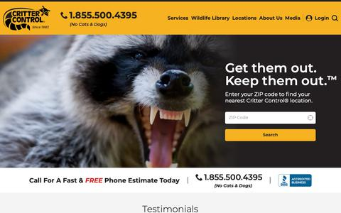 Screenshot of Home Page crittercontrol.com - Animal & Wildlife Removal, Control & Trapping Service - captured May 6, 2019