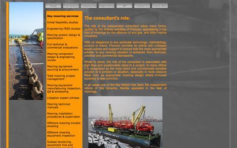 Screenshot of Services Page promoor.com - Promoor, Independent mooring consultants - captured Jan. 31, 2016