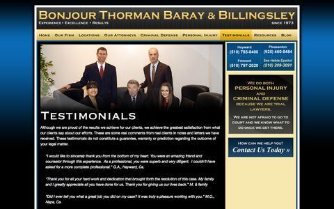 Screenshot of Testimonials Page bonjourandthorman.com - Bonjour, Thorman, Baray & Billingsley:  Attorneys at LawTestimonials » Bonjour, Thorman, Baray & Billingsley: Attorneys at Law - captured Oct. 5, 2014