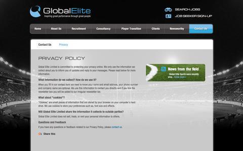 Screenshot of Privacy Page globalelitesports.com - Legal » Global Elite - captured Sept. 30, 2014