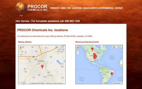 Screenshot of Locations Page procorchemicals.com - Locations :: PROCOR CHEMICALS, INC. - captured Oct. 1, 2014