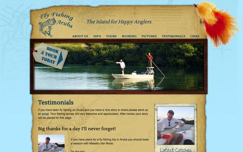 Screenshot of Testimonials Page flyfishingaruba.com - Testimonials | Fly Fishing Aruba - captured Sept. 30, 2014