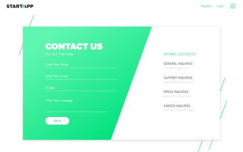 Screenshot of Contact Page startapp.com - Contact - StartApp - captured Feb. 28, 2017