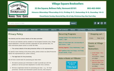 Screenshot of Privacy Page villagesquarebooks.com - Privacy Policy | Village Square Booksellers - captured Oct. 18, 2018