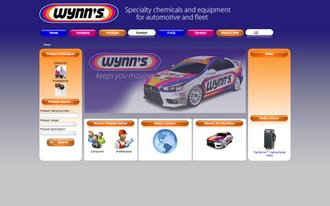 Screenshot of Home Page wynns.eu - Wynn's Belgium bvba - captured Oct. 9, 2014