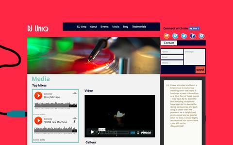 Screenshot of Press Page uniq.dj - DJ Uniq | Media - captured Dec. 3, 2016
